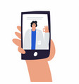 patient and doctor video communication through vector image vector image