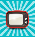 red retro tv on blue vintage background vector image vector image