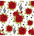 Seamless pattern with music notes and red roses vector image vector image