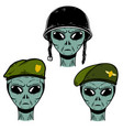 set alien soldier in battle helmet and vector image vector image