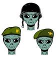 set alien soldier in battle helmet and vector image