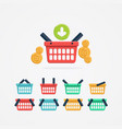 set colored shopping basket vector image