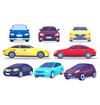 set colorful modern cars automobiles from vector image vector image