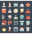 set kitchen icons in flat design vector image