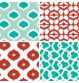 Set of green and red ikat geometric seamless vector image vector image