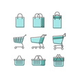 Shopping Bag Cart Basket Line Web Icons Set vector image vector image