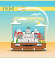 suitcase with landmarks finland vector image vector image