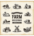 Vintage Farm Buildings Set vector image