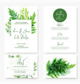 wedding cards kit wild watercolor green ferns vector image