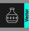 white line tequila bottle icon isolated on black vector image vector image