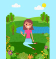 young smiling girl sits on a grass and shows okay vector image