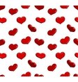Valentine seamless pattern with shiny red hearts vector image