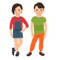 fashion teen boy and girl characters vector image