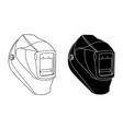 welding helmet black and white vector image