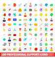 100 professional support icons set cartoon style vector image