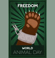 animal day freedom concept bear breaking chain vector image