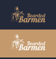 bearded barmen barkeeper or bartender in work vector image