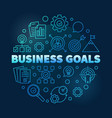 business goals round blue outline vector image