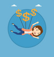business woman flying with dollar signs vector image