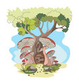 cartoon house in a tree and with red mushrooms vector image vector image