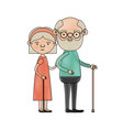 color crayon silhouette of full body elderly vector image vector image