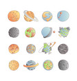cute cartoon astronomy planet icon set cartoon vector image