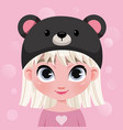 cute little girl character in hat on pink vector image vector image