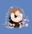 cute mother hugging their child happy mothers day vector image vector image