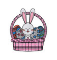 drawing easter rabbit with basket egg festive vector image vector image
