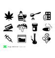 drugs and addiction icons vector image vector image