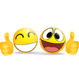 Emoticon with thumb business commerce concept vector image vector image