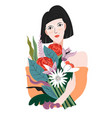 female character holding bouquet fresh flowers vector image vector image