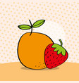 fresh orange and strawberry on dotted background vector image