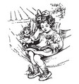 girl reading doll vintage engraving vector image vector image