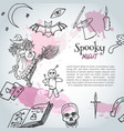hand drawn halloween banner template horror night vector image vector image