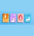 happy easter paper cut rabbit egg spring card set vector image vector image