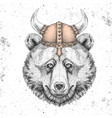 hipster animal bear wearing a viking helmet vector image vector image