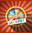 jackpot title with wheel of fortune on vintage vector image vector image