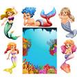 mermaid characters and underwater scene background vector image vector image