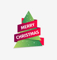 merry christmas greeting card christmas tree with vector image vector image