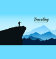 mountains landscape in blue colors silhouette of vector image