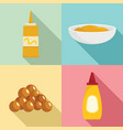 mustard seeds sauce bottle icons set flat style vector image vector image
