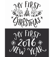 My first Christmas and New Year lettering set vector image vector image