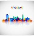 nagasaki skyline silhouette in colorful geometric vector image vector image