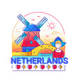 netherlands - modern line travel vector image
