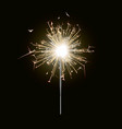 new year sparkler candle isolated on black backgro vector image vector image