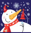 new years card with a snowman and a christmas tree vector image