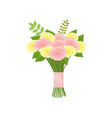 nice bouquet of pink and yellow roses tied with vector image vector image