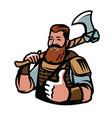 nordic viking mascot warrior barbarian sport vector image vector image