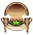 old wooden barrel with beer vector image vector image